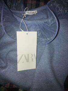 Zara TOP WITH ORGANZA RUFFLES / Blue Size M