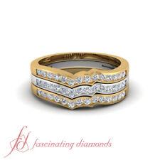 Inexpensive Stackable Ring 1/2 Karat Round Cut Diamond 18K White & Yellow Gold