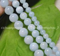 Natural 6/8/10mm Blue Aquamarine Round Gemstone Loose Beads 15'' Strand