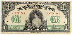 1917 Dominion of Canada $1 Dollar Large Note OTTAWA