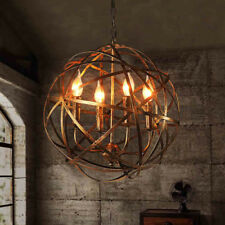 Round Metal Candle Bases Chandelier Orb Sphere Pendant Light in Copper Finish