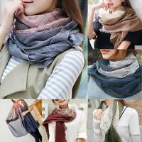 Women Girls Long Solid Color Scarf Wrap Cotton Linen Large Shawl Hijab Elegant
