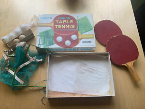 Vintage Senior Table Tennis Set By Spear's - 2 Bats, Net with Fixings, 6 Balls