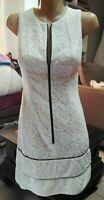 CUE STUNNING CREAM LACE ZIP UP FIT N FLARE DRESS BLACK PIPING SIZE 6.
