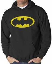 Felpa Batman, nera con cappuccio, logo giallo, stile supereroi dei fumetti