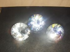 12 - 1 1/2  inch Clear Diamond Cut Glass Stone Paper Weight Gift