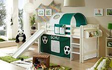 Lit mezzanine avec toboggan THEO R Hêtre massif teinté blanc tissus Football