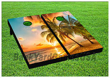 VINYL WRAPS Cornhole Boards DECALS Sunset on Beach Bag Toss Game Stickers 806
