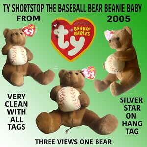 TY SHORTSTOP THE  BASEBALL BEANIE BABY WITH SILVER STAR ON HANG TAG VERY CLEAN.