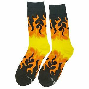 NWT Fire Dress Socks Novelty Men 8-12 Black and Orange Fun Sockfly