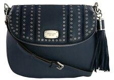 Michael Kors Satchel Shoulder Bag Navy Blue Mini Grommet Leather Medium Handbag