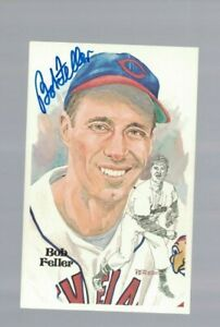 Bob Feller Cleveland Indians HOF Signed Perez Steele Postcard W/Our COA