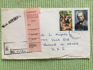 Reg. Airmail Cover Brief  Barbuda Antigua to Holland USA 17.05.1973 Overprint St
