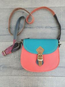 Gringo Fairtrade Small Orange & Teal Recycled Leather Bag - Marked