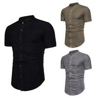 Men's Slim Fit Shirt Casual Short Sleeve Low Neck Solid Button-Down Striped Tops