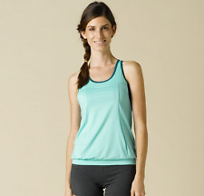 New PrAna Yoga Athletic Tank Gabrielle Top Bermuda Blue Attached Support Bra