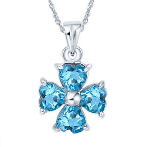 Sterling Silver Simulated Topaz Necklace Clover Pendant Christmas Gift for Her