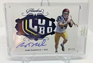 2018 Panini Flawless Sam Darnold Auto RC Rookie Bowl Patch #/15 USC PANTHERS SSP