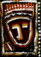 ACEO Original Acrylic abstract art  Aztec/ Tiki/ Mayan art  /abstract face art/