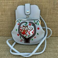Pale Grey Owl Purse Small bag with Phone Spectacles  Holder Long & Short Straps