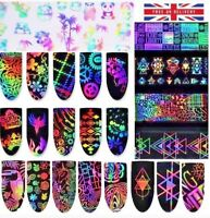HOLOGRAPHIC NAIL ART FOIL Starry Transfer Stickers Flowers Unicorn Holo NEW UK