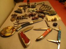 Junk Drawer Of Collectibles Pocket Knives Metal Animals + Other Goodies