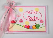 """Süßes Gästebuch/Album zur Taufe """"Kleine Raupe"""" - rosa"""