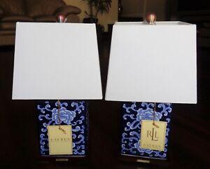 SET OF 2 RALPH LAUREN TABLE LAMPS PORCELAIN LOTUS FLOWERS MANDARIN BLUE PAIR NEW