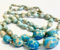 RARE!  VTG /ANTIQUE Blue& Putty  CZECH Graduated HUBBELL TRADING BEAD NECKLACE