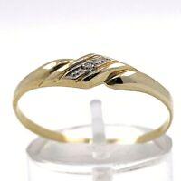 Damenring aus 14 kt Gold mit 0.01 ct Diamant Gr 63 EU