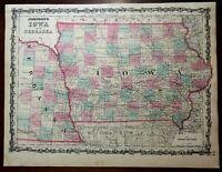 Iowa and Nebraska American Midwest 1860-64 Johnson & Ward map Scarce Issue
