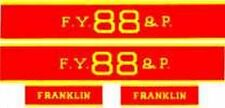 FRANKLIN ENGINE SELF ADHESIVE SET for AMERICAN FLYER S Gauge Scale TRAINS