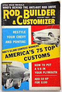 Vtg Rodding and Re-styling Magazine August 1957 Hot Rod Drag Race Custom Chevy