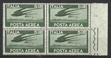 ITALY 1945 AIR MAIL 5L GREEN BLOCK MINT
