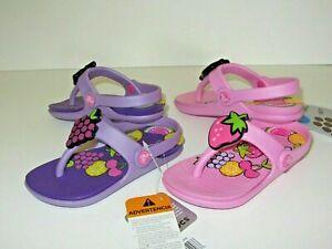 New Crocs Baby Toddler Girl Reina Wild Fruit Flip Flop Sandals Shoes 6/7 8/9