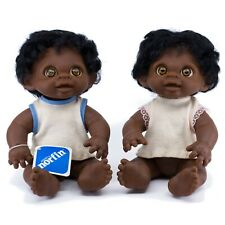 "Anatomically Correct DAM Norfin Troll Twin African American Black Dolls 10.75"""