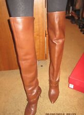 Valentino Garavani Cognac Tan Brown Leather RockStud Over The Knee Boots 41 11M