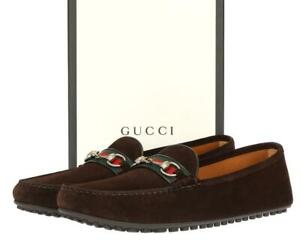 NEW GUCCI BROWN SUEDE HORSEBIT MOCCASINS DRIVER SHOES G 11/US 11.5