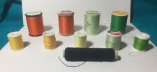 Lot Of 10 Vintage Sewing Thread  Green Yellow Orange Black New and Used