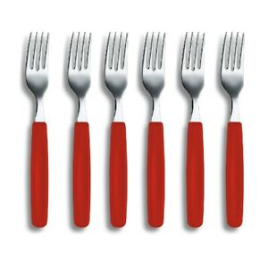 VICTORINOX RED TABLE FORK Forks Cutlery Table Dinner SET 6