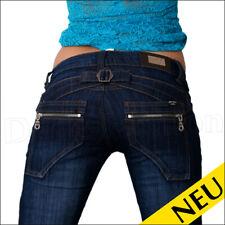 NEU 🌸 Sexy Blue DENIM Jeans MY VIVI Used Style Zierschnalle ZIP Design 🌸 32 34