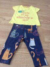 Baby Girls 6-9 Months Yellow Daddy T-Shirt & Leggings & Next Cat Leggings - New