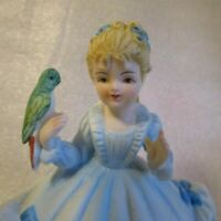 Vintage FIGURINE🦜  LAMOUR China JAPAN 🦜 Signed Hand Painted Girl w Parrot 🦜