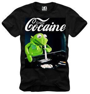 "E1syndicate T-Shirt ""ENJOY COCAINE"" Frog MDMA Rave Dope Ecstasy Green Crack 1345"