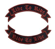 Live to Ride Ride to Live Rockers Back Patches Red on Black Motorcycle vest