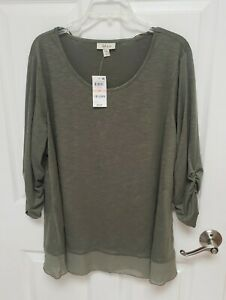 NWT Style&Co 2x Chiffon Hem Blouse Olive Sprig Green ruched 3/4 sleeve