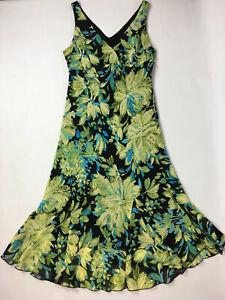 Collection Debenhams Bias Cut Dress UK 14 Summer Cruise Black Turquoise Greens