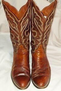 Eldorado Cowboy Boots Size 11D Hand Made -Two Tone Brown  Alligator I Believe
