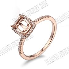 10K Rose Gold Cushion/Emerald/Radiant Cut Natural Diamonds Semi Mount Halo Ring