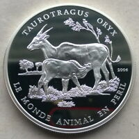 Benin 2006 Oryx 1000 Francs Silver Coin,Proof